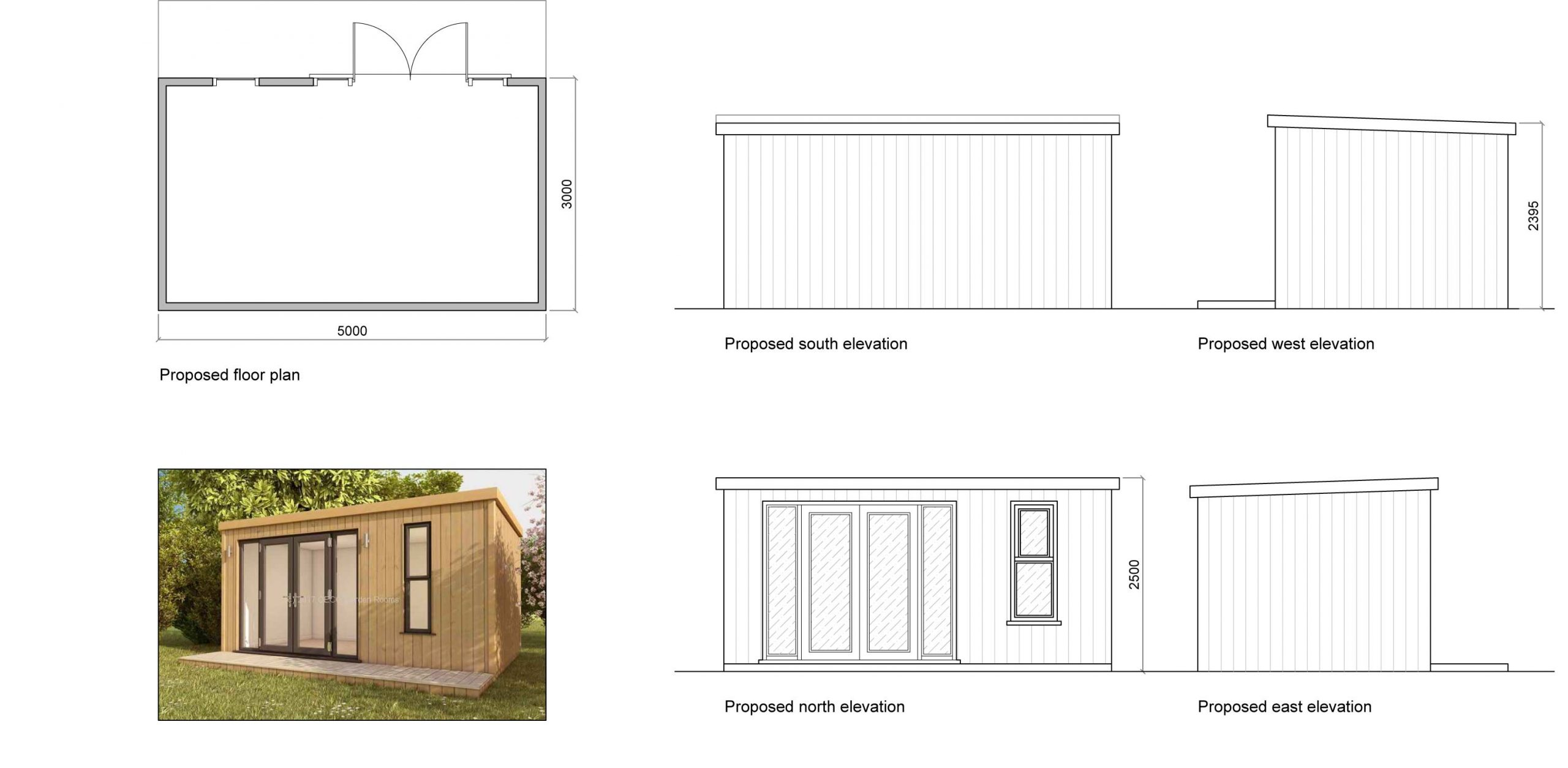 Timber garden office planning drawings