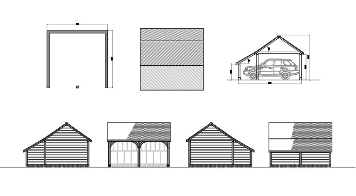 Planning drawings for an oak-framed garage