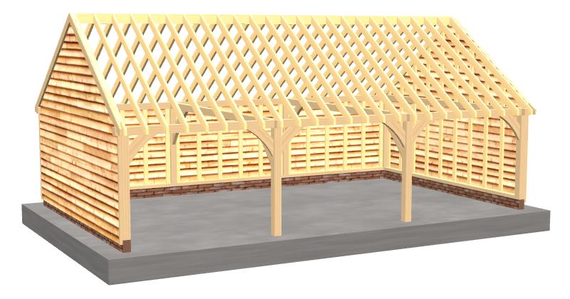 Three-bay oak framed garage