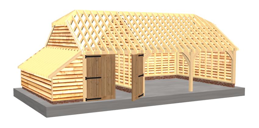 Triple oak garage