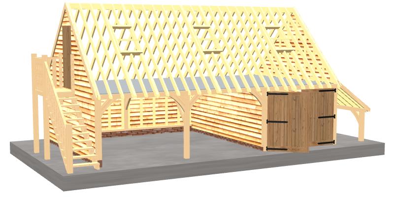 Oak barn with upper floor
